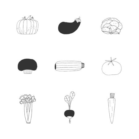 Set of hand drawn vegetables. Vector isolated icons. Healthy nutrition.
