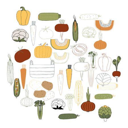 Vegetables. Set of vector hand drawn icons. Healthy nutrition. Ilustração