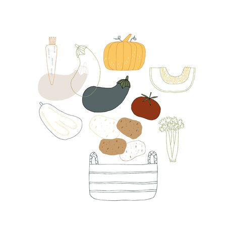 Healthy nutrition. Vegetables. Set of vector hand drawn icons.