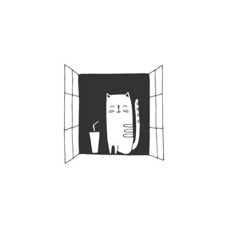 Vector simple sketch illustration. A cat sits on a windowsill. Peace and quiet concept.