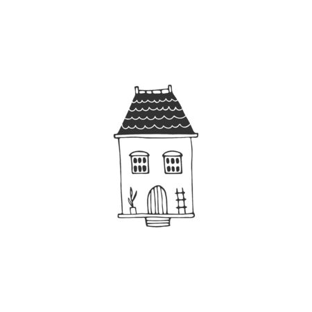 Cute little house. Vector sketch black and white illustration.