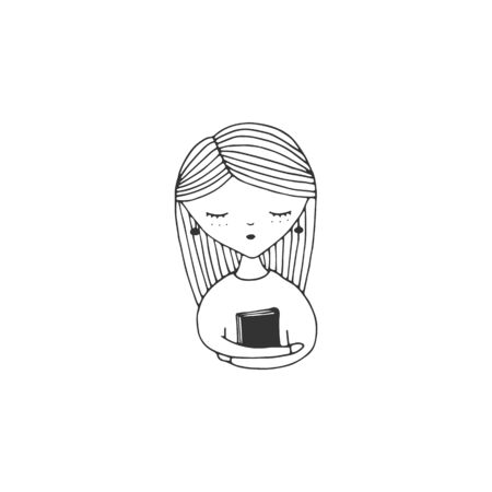 A girl with a book at home. Vector sketch black and white illustration.