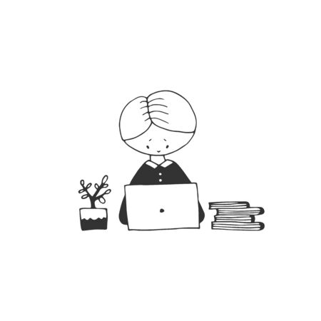 Studying online from home. Vector sketch black and white illustration.