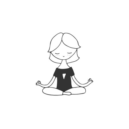 Vector sketch illustration. Isolated object. A girl doing yoga at home.