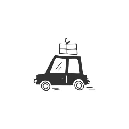 Vector hand drawn simple icon, a car with parcel. Fast delivery, express mail  element. Ilustracja
