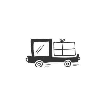 Vector simple hand drawn icon, a truck with parcel. Express mail, fast delivery  element.