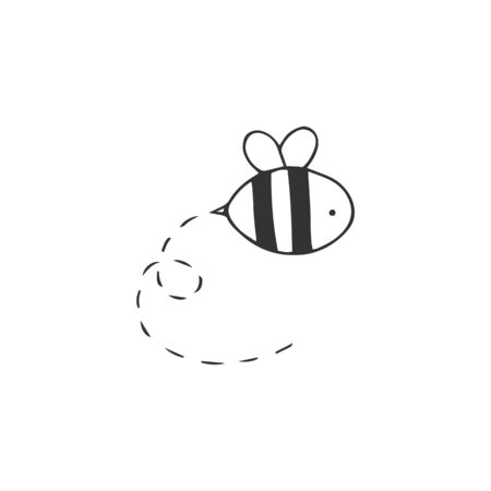 A bee vector hand drawn icon. Fast delivery, express mail   element. Illustration