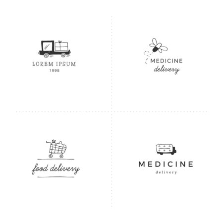 Set of vector hand drawn templates. Fast delivery, express mail elements.