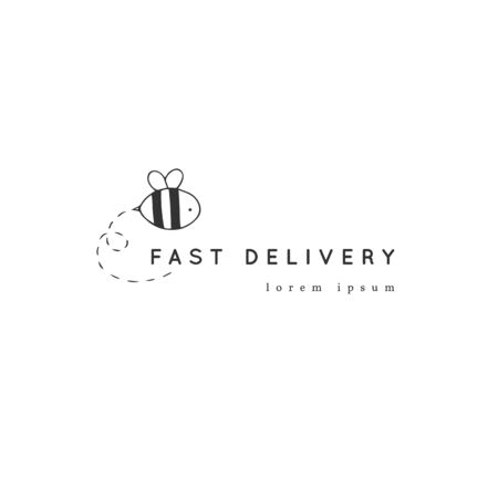 A bee vector hand drawn icon. Fast delivery, express mail template. Illustration
