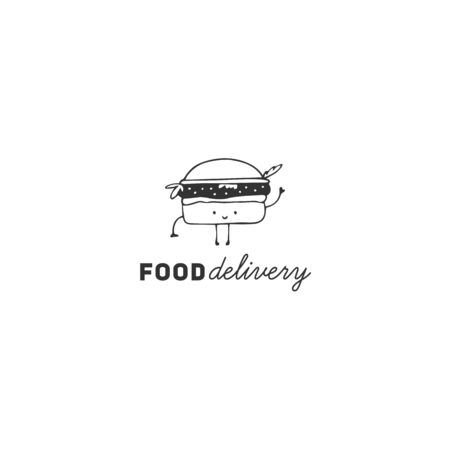 Fast food cafe delivery service template with hand drawn vector burger icon, cute character. Illustration