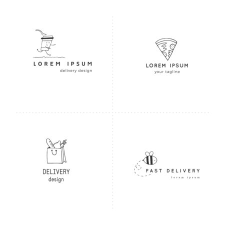 Set of vector hand drawn  templates. Fast delivery, express mail elements. Illustration