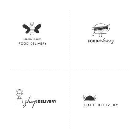 Fast delivery, express mail elements. Set of vector hand drawn  templates.