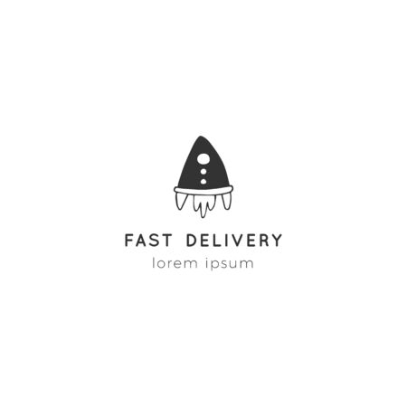 Fast delivery, express mail  template with rocket vector hand drawn icon. Ilustracja