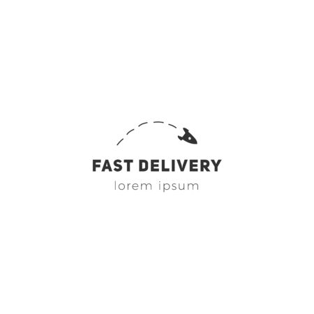 Express mail, fast delivery template with flying rocket vector hand drawn icon.