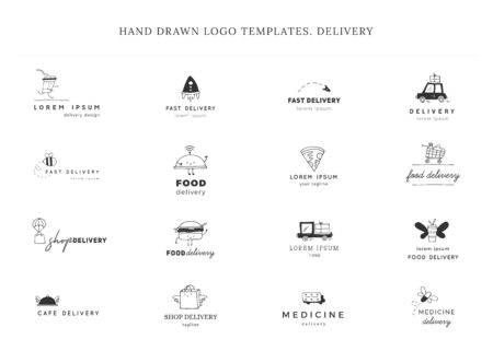 Set of hand drawn vector templates. Fast delivery, express mail elements.