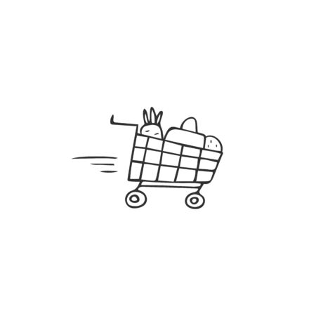 Vector hand drawn simple icon, a food trolley. Product delivery  element.