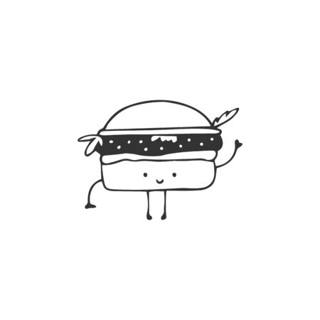 Hand drawn vector burger icon, cute character. Fast food cafe delivery service  element. Illustration