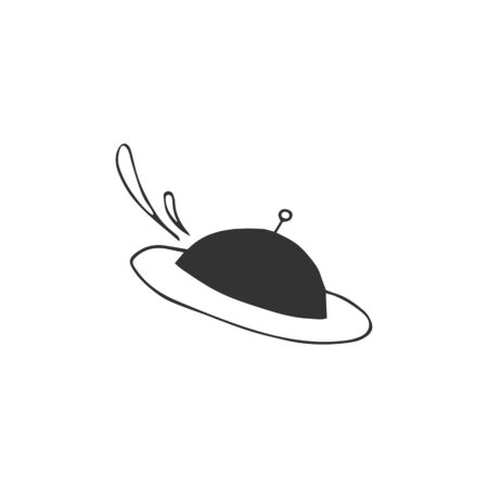 Cafe or restaurant delivery service   element. Vector hand drawn flying dish icon.