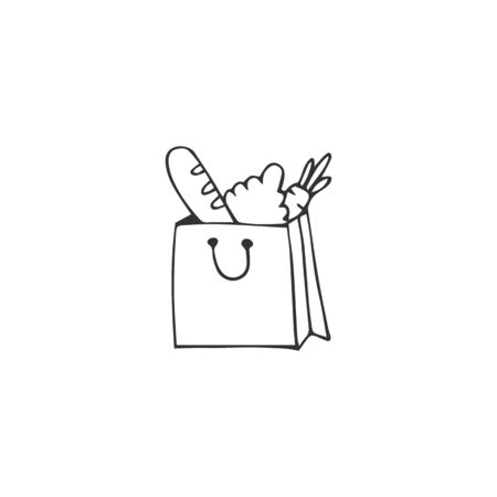 Vector hand drawn simple icon, a grocery bag. Product delivery  element.