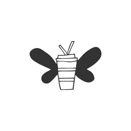 Hand drawn vector flying coffee cup icon. Fast food cafe delivery service  element. Illustration
