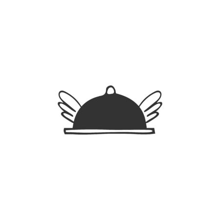 Vector hand drawn flying dish icon. Cafe or restaurant delivery service   element.