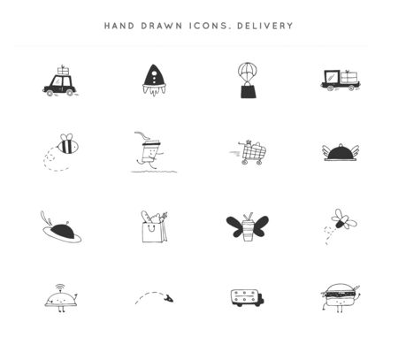 Set of hand drawn vector icons. Fast delivery, express mail   elements.