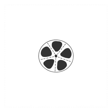 Cinema isolated object, cinematography illustration. Vector hand drawn icon, a bobbin.