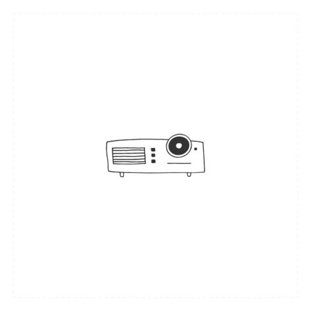 Cinematography illustration, cinema isolated object. Vector hand drawn icon, a videocamera.