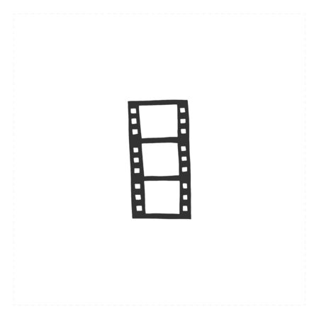 Cinema isolated object, cinematography illustration. Vector hand drawn icon, a film.