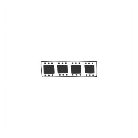 Vector hand drawn icon, a film. Cinema isolated object, cinematography illustration. Ilustracja