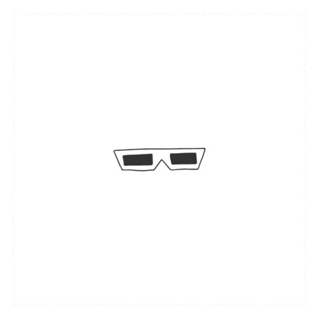 Vector hand drawn icon, a 3D glasses. Cinema isolated object, cinematography illustration.