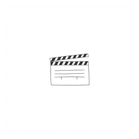 A clapperboard, vector hand drawn icon. Cinema isolated object, cinematography illustration.