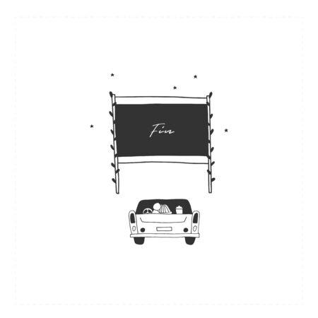 Vector hand drawn simple illustration. Car cinema.  イラスト・ベクター素材