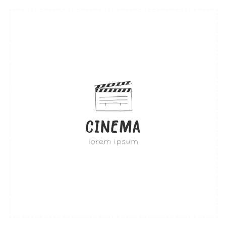 A clapperboard, vector hand drawn logo template. Cinema isolated object, cinematography illustration. Ilustracja