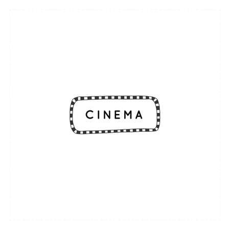 Vector hand drawn logo template. Cinema isolated object, cinematography illustration.
