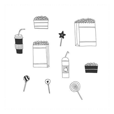 Set of vector hand drawn icons, cinema cafe treats. Food and drink illustration. Ilustracja