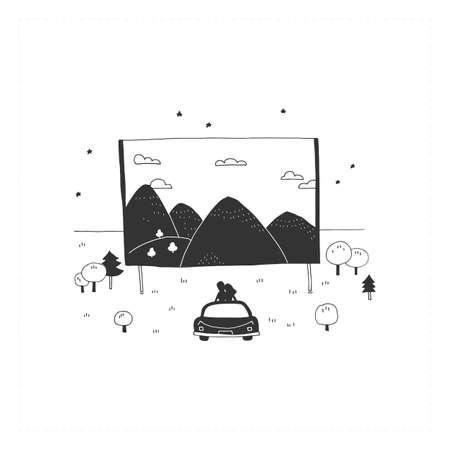 Car cinema. Vector hand drawn simple illustration.