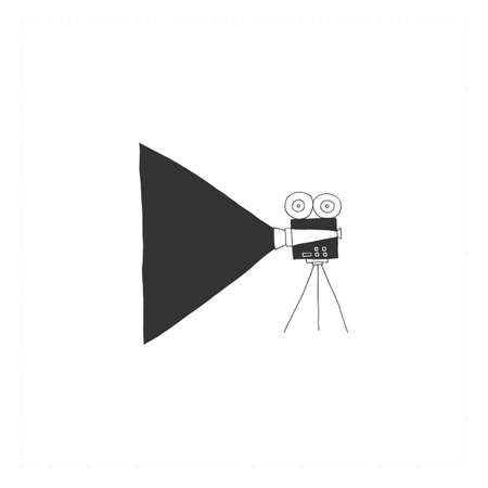 A videocamera, hand drawn simple vector icon. Cinematography illustration, cinema isolated object.