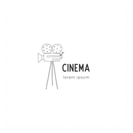 Cinema illustration. Vector hand drawn logo template with a videocamera.