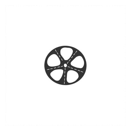 Vector hand drawn icon, a bobbin. Cinema isolated object, cinematography illustration.