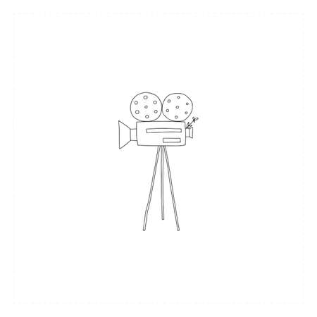Vector hand drawn icon, a videocamera. Cinematography illustration, cinema isolated object.