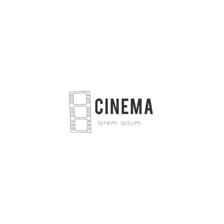 Vector hand drawn logo template with a film. Cinematography illustration, cinema isolated object.