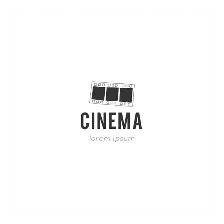Cinematography illustration, cinema isolated object. Vector hand drawn logo template with a film.