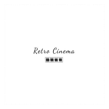 Cinematography hand drawn illustration, cinema isolated object. Vector premade logo template with a film. Illustration