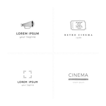 Cinema hand drawn logo templates. For business identity and branding. Set of vector doodle objects.