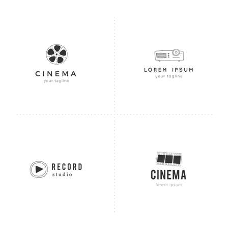 Cinema logo templates. For business identity and branding. Set of vector hand drawn objects. Illustration