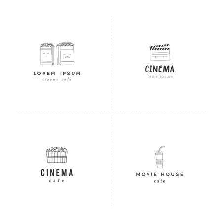 Cinema logo templates. Set of vector hand drawn objects. For branding and business identity.