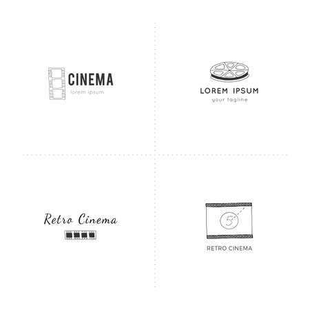 Cinema logo templates. For branding and business identity. Set of vector hand drawn objects.