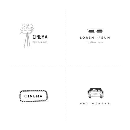 Set of vector hand drawn objects. Cinema logo templates. For branding and business identity.