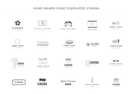 Set of vector hand drawn icons. Cinema isolated objects, cinematography logo templates.